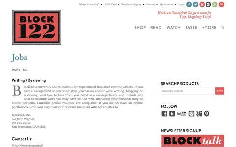 Screenshot of Jobs Page block122.com - Jobs | Block122 - captured Oct. 27, 2014