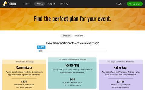 Screenshot of Pricing Page sched.org - Agenda Creator | Event Calendar Mobile App - captured Dec. 1, 2015