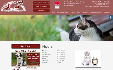 Screenshot of Hours Page adobevets.com - » Hours | Veterinarian and Animal Hospital in Santa Cruz, CA - captured Oct. 3, 2018