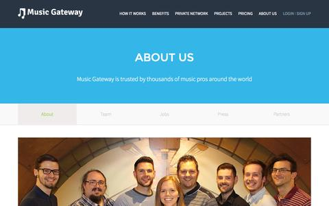 Screenshot of About Page musicgateway.net - What We Do | Company Vision | Objectives | Goals - captured Oct. 21, 2015
