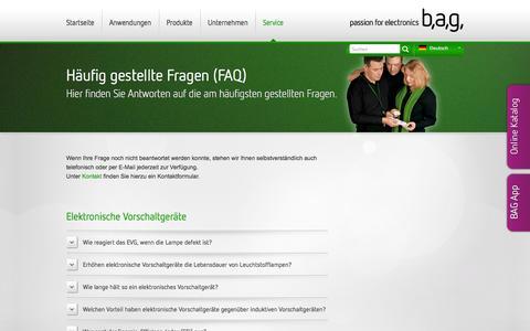 Screenshot of FAQ Page bagelectronics.com - FAQ   BAG electronics - captured Oct. 1, 2014