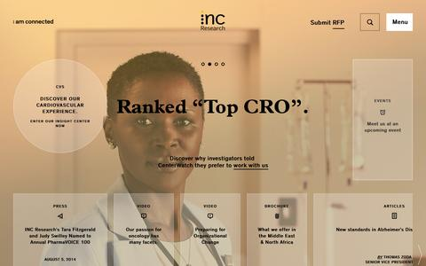 Screenshot of Home Page incresearch.com - INC Research: Your global CRO - captured Sept. 19, 2014