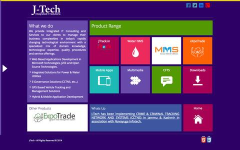 Screenshot of Products Page jtechindia.com - J-Tech - About Us - captured Oct. 6, 2014