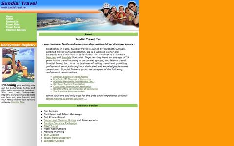 Screenshot of About Page sundialtravel.net - SUNDIAL TRAVEL - Sundial Travel is your corporate, family, and leisure one-stop vacation full service travel agency - captured Oct. 1, 2014