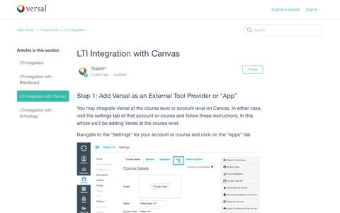 Screenshot of Support Page versal.com - LTI Integration with Canvas – Help center - captured Dec. 3, 2019