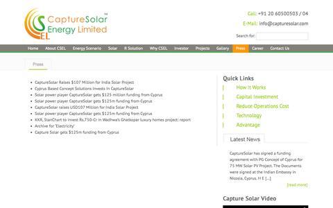 Screenshot of Press Page capturesolar.com - Press | Capture Solar Energy Limited - captured Nov. 1, 2014