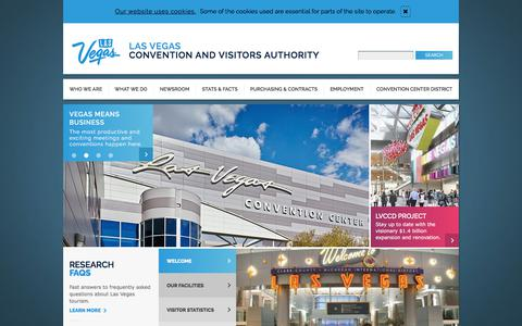Screenshot of Home Page lvcva.com - Las Vegas Convention and Visitors Authority | LVCVA - captured July 13, 2018