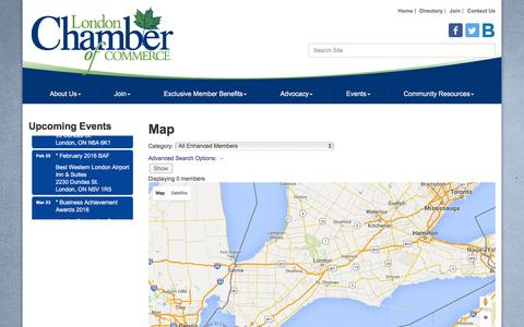 Screenshot of Maps & Directions Page londonchamber.com - Map - London Chamber of Commerce, ON - captured Feb. 1, 2016