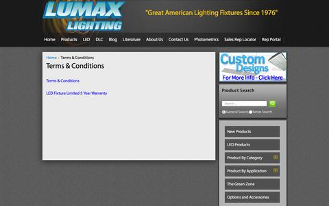 Screenshot of Terms Page lumaxlighting.com - Terms & Conditions - captured Dec. 12, 2015