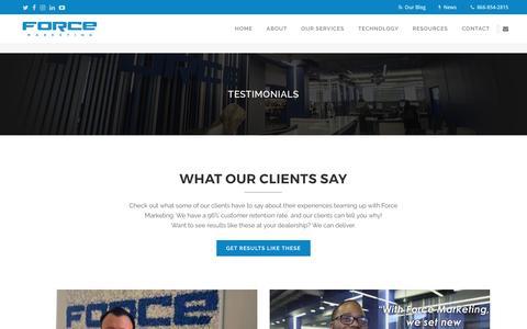 Screenshot of Testimonials Page forcemktg.com - Force Marketing   Dealership Testimonials and Reviews - captured April 15, 2017