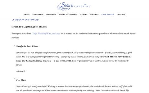 Screenshot of Testimonials Page struckcatering.com - Testimonials - Struck Catering - captured Nov. 11, 2017