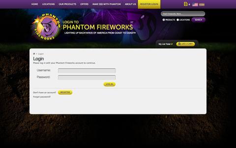 Screenshot of Login Page fireworks.com - Phantom Fireworks : My Account : Log In - captured Sept. 22, 2014