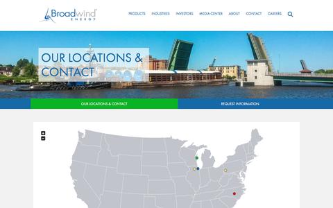 Screenshot of Contact Page Locations Page bwen.com - Broadwind Energy, Inc. - Contact - Our Locations & Contact - captured Aug. 8, 2017