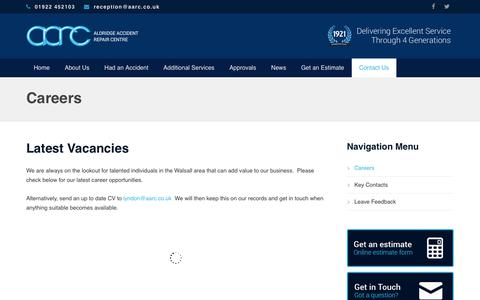 Screenshot of Jobs Page aarc.co.uk - Careers·Home·Home - captured Oct. 3, 2018