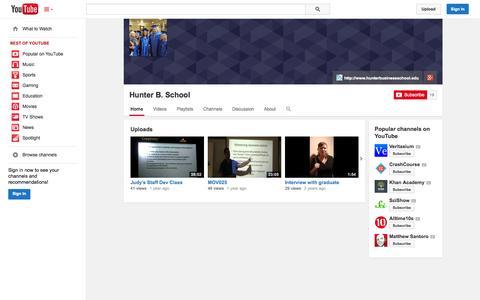 Screenshot of YouTube Page youtube.com - Hunter B. School  - YouTube - captured Oct. 22, 2014