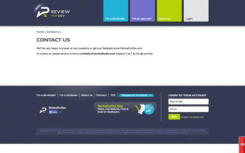 Screenshot of Contact Page reviewfordev.com - Awesome customer support | ReviewForDev - captured Sept. 25, 2014