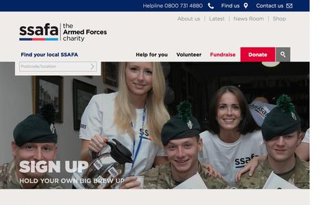 Screenshot of Signup Page ssafa.org.uk - Sign up  | SSAFA the armed forces charity - captured Jan. 4, 2017