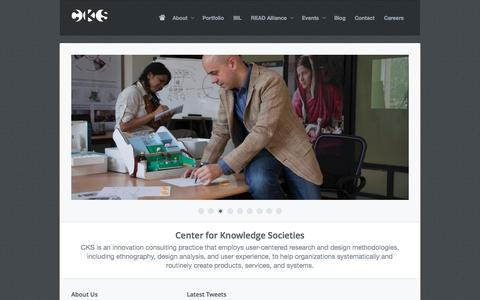 Screenshot of Home Page cks.in - Center for Knowledge Societies - captured Sept. 22, 2014
