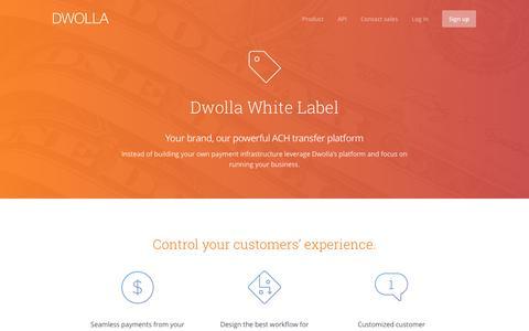 Screenshot of dwolla.com - Developer friendly ACH API - captured March 19, 2016