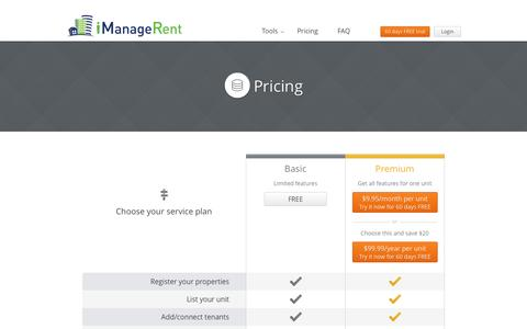 Screenshot of Pricing Page imanagerent.com - Online Property Management | Pay Rent Online | Property Management Software - captured Sept. 30, 2014