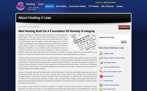Screenshot of About Page hosting4less.com - Hosting 4 Less - Company Profile - captured Sept. 30, 2014