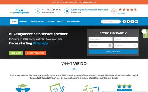 Screenshot of Home Page helpwithassignment.com - Assignment Help   Help with Assignment   College Homework Help - captured Sept. 28, 2018