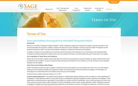 Screenshot of Terms Page sagerx.com - Terms of Use - Sage Therapeutics - captured Sept. 17, 2014