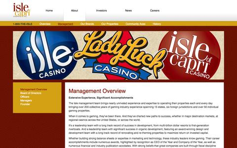 Screenshot of Team Page islecorp.com - Management Overview, Isle of Capri Casinos, Inc. - captured Oct. 6, 2014