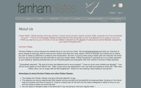 Screenshot of About Page farnhampilates.com - About Us | Farnham Pilates - captured Sept. 30, 2014