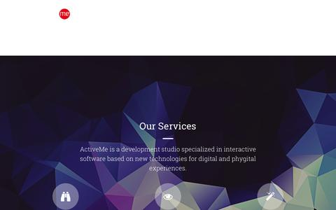 Screenshot of Services Page activeme.be - Services | ActiveMe - captured July 29, 2018