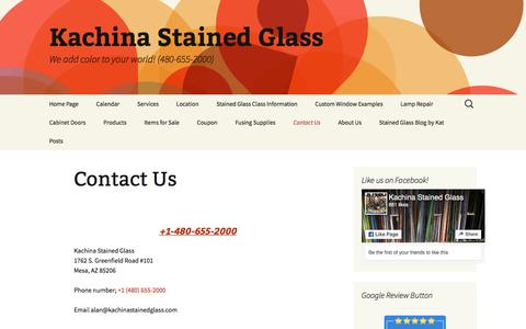 Screenshot of Contact Page kachinastainedglass.com - Contact Us | Kachina Stained Glass - captured July 13, 2019