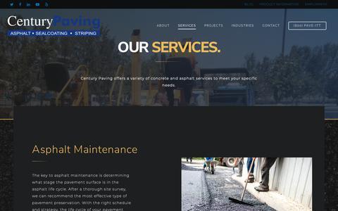 Screenshot of Services Page paveit.com - Concrete and Asphalt Services | Century Paving - captured Sept. 27, 2018