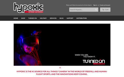 Screenshot of Home Page gethypoxic.com - Camera Gear for Human Flight – HYPOXIC - captured Jan. 24, 2016