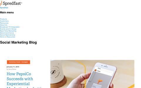 Screenshot of Blog spredfast.com - Social Marketing Blog   Social Media Blog   Spredfast - captured Jan. 13, 2019