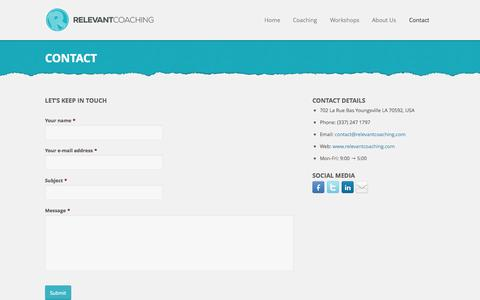 Screenshot of Terms Page relevantcoaching.com - Relevant Coaching | Contact - Relevant Coaching - captured Oct. 29, 2014