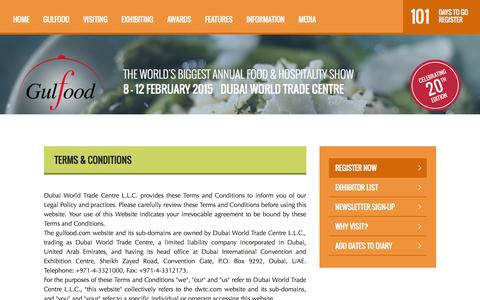 Screenshot of Terms Page gulfood.com - Gulfood 2015 - Terms & Conditions - captured Oct. 30, 2014