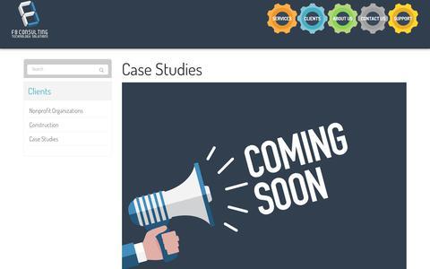 Screenshot of Case Studies Page f8consulting.com - Case Studies - New York City, Manhattan, Edgewater   F8 Consulting - captured Dec. 9, 2018
