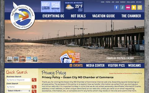 Screenshot of Privacy Page oceancity.org - Privacy Policy | Ocean City MD Chamber of Commerce - captured Feb. 13, 2016