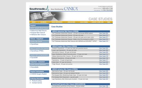 Screenshot of Case Studies Page canica.com - Canica Design - Wound Closure Case Studies - Abdominal Closure, Fasciotomy Closure, Sternotomy Closure - captured Oct. 1, 2014