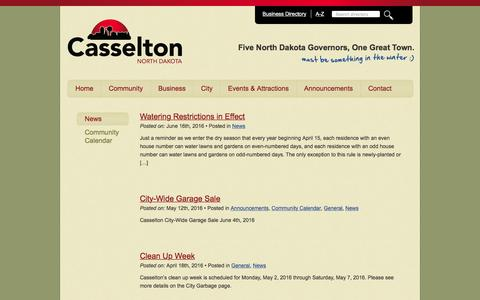 Screenshot of Press Page casselton.com - News Archives - City of Casselton Website - captured June 18, 2016