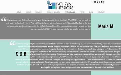 Screenshot of Testimonials Page kathryninteriors.com - Home of Residential Interior Design Kathryn Interiors, Miami FL | TESTIMONIALS - captured Oct. 15, 2018