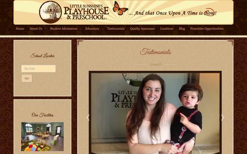 Screenshot of Testimonials Page littlesunshine.com - Family Testimonials and Reviews | Little Sunshine's Playhouse - captured Oct. 2, 2014