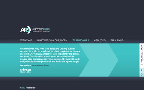 Screenshot of Testimonials Page andypriordesign.co.uk - Client testimonials for our graphic design services - captured Sept. 30, 2014