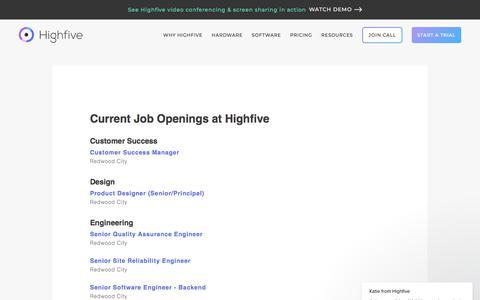 Screenshot of Jobs Page highfive.com - Katie says… - captured May 15, 2018