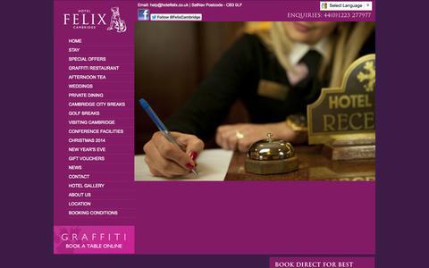 Screenshot of Jobs Page hotelfelix.co.uk - Hotel Careers Cambridge | Hotel Vacancies | Hotel Work Placements & Apprenticeships - captured Sept. 30, 2014