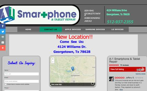 Screenshot of Privacy Page Contact Page a1phonerepairs.com - Cell Phone Screen Repair - A-1 Smartphone & Tablet Repair - Georgetown, Tx : Contact - captured Nov. 17, 2016