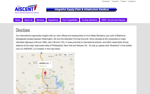Screenshot of Maps & Directions Page aiscent.com - Directions   - Aiscent - captured Oct. 4, 2014