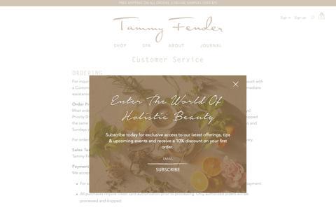 Screenshot of Support Page tammyfender.com - Customer Service - Tammy Fender - captured Oct. 23, 2018