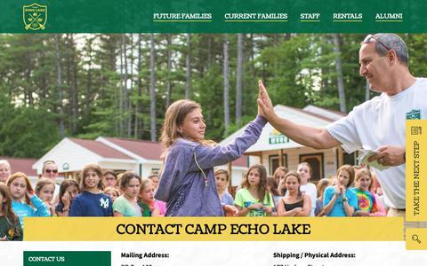 Screenshot of Contact Page campecholake.com - Contact Camp Echo Lake | Camp Echo Lake - captured Oct. 19, 2018