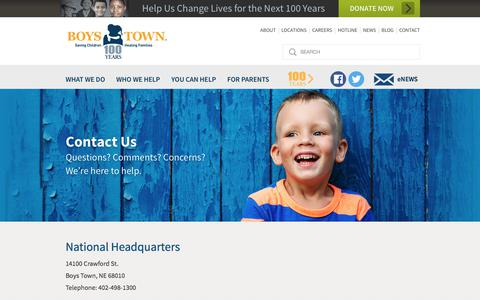 Screenshot of Contact Page boystown.org - Boys Town: Saving Children, Healing Families, Parenting Tips |  	Contact Us - captured Jan. 4, 2018